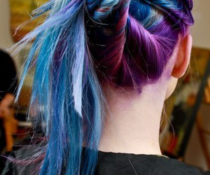 hair, pink, and purple blue image
