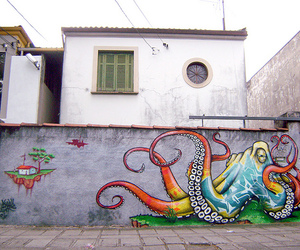 colour, graffiti, and octopus image