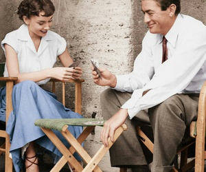audrey hepburn, cards, and gregory peck image