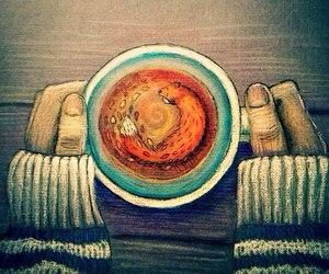 tea, art, and fox image