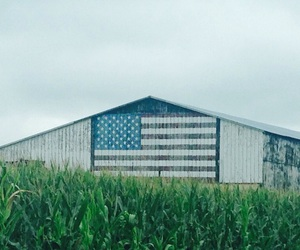 american flag, barn, and cloudy image