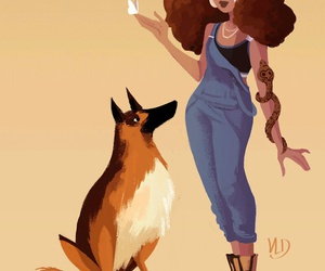animals, girl, and art image