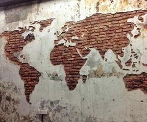 world, wall, and art image