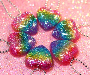 rainbow, glitter, and heart image