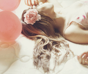 ballons, flowers, and hair image