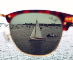 beach, sunglasses, and boat image