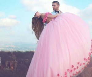 love, pink, and couple image