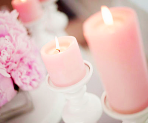 candle, pink, and flowers image