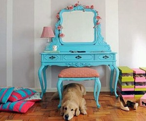 dog, dressing table, and vintage image