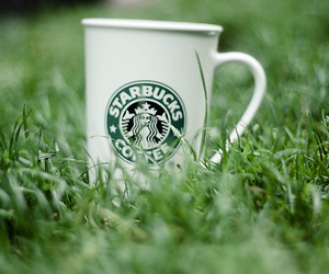 grass, starbucks, and cup of coffee image