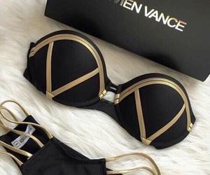 black, bikini, and gold image