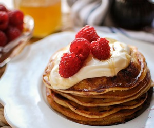 breakfast, ricotta, and pancakes image