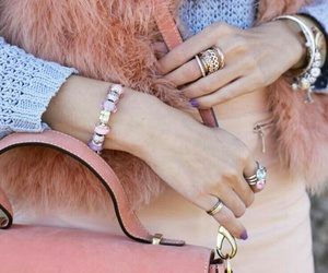 pastel outfits, girly rings, and coral purse image