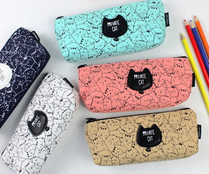 cats, kawaii, and pencil bag image