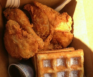food, Chicken, and waffles image