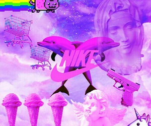Collage, dolphin, and pink image
