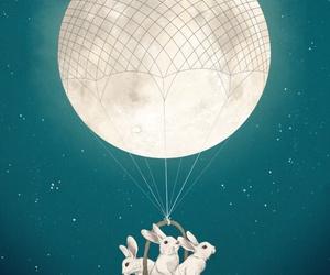 bunny, moon, and art image