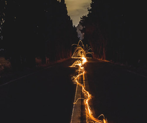 light, road, and night image