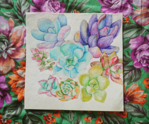 color, draw, and flowers image