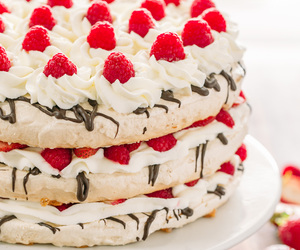 berries, whipped cream, and cake image
