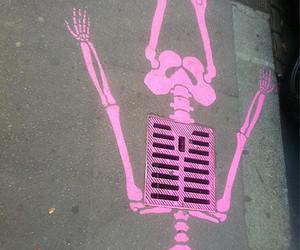 pink, skeleton, and street image