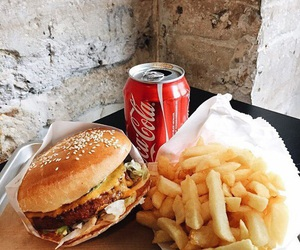 food, coca-cola, and burger image