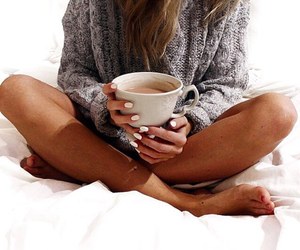 coffee, sweater, and nails image