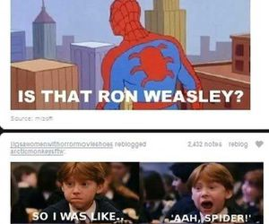 harry potter, spiderman, and funny image