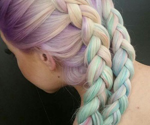 hair, colorfulhair, and frenchbraids image