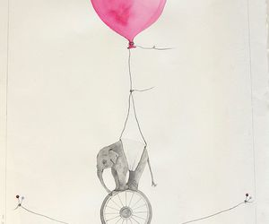 elephant, balloon, and pink image