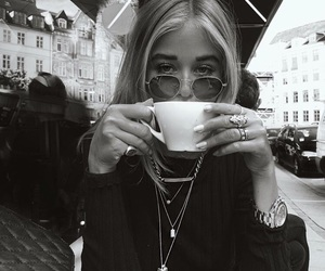 girl, black and white, and coffee image