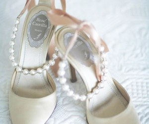 shoes, wedding, and pearls image