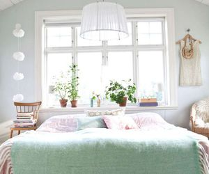 bedroom, mint, and lights image