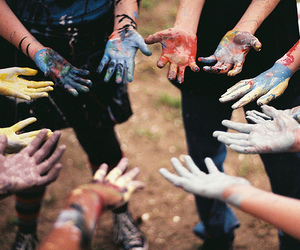 hands, paint, and friends image