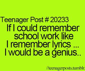 Lyrics, teenager post, and school image
