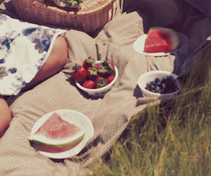picnic, strawberries, and summer image