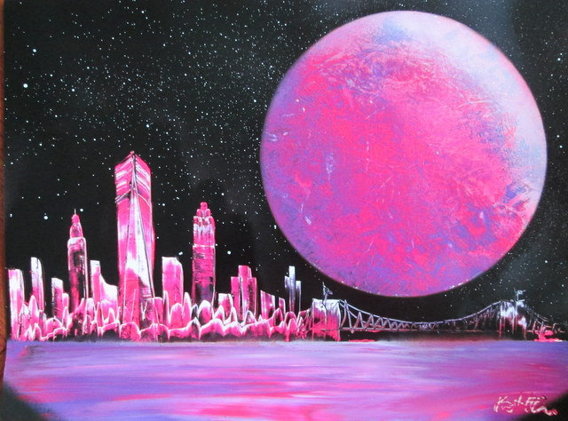 Pink New York Skyline Wall Art Pink New York Poster Girls Room