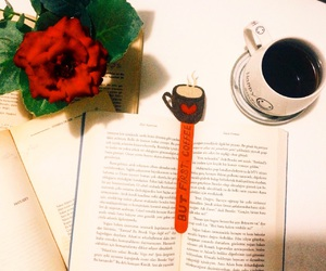 book, bookmarks, and coffee image