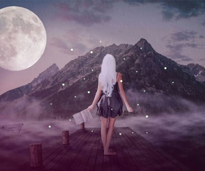 girl, moon, and Dream image