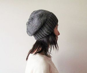 grey hat, handmade, and winter accessories image