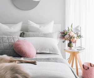 bed, decoration, and flowers image