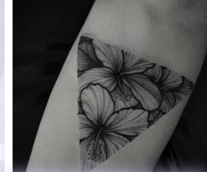 flowers, geometry, and triangle tattoo image