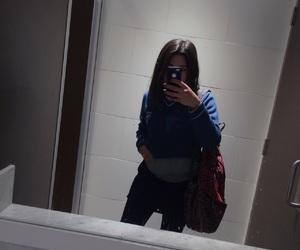 backpack, bathroom, and black hair image