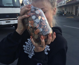 aesthetic, coins, and girl image