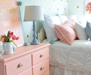 bedroom, room, and pastel image