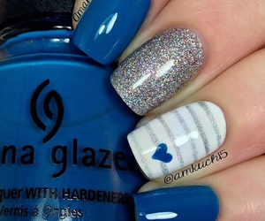blue, glitter, and nailsart image