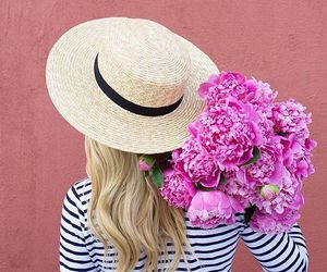 flowers, girl, and hat image