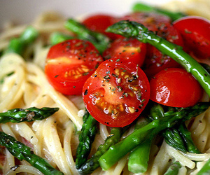 asparagus, food, and pasta image
