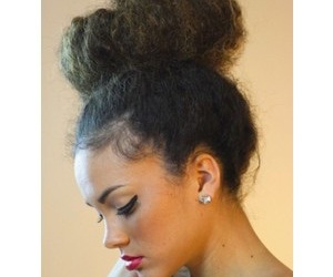 hair, bun, and makeup image