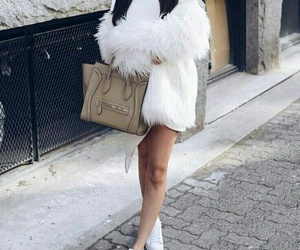 white sneakers, straight black hair, and white fur coat image